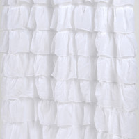 Carnation Home Fashions Carmen Crushed Voile Ruffled Tier Polyester Fabric Shower Curtain