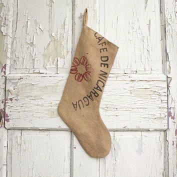 Burlap Christmas Stocking, Ecofriendly made from Coffee Bags, Rustic, Boho, Industrial, Cottage
