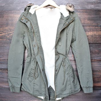 faux sherpa lined hooded utility parka jacket with removable faux fur hood trim (+ colors)
