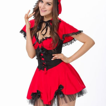 Little Red Riding Hood Short Sleeve Mini Skater Dress Costumes Set with Mesh Accent