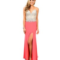 Coral Hand Beaded Spaghetti Strap Jersey Long Dress 2015 Prom Dresses