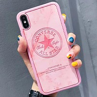 Converse New fashion letter star leather protective case phone case Pink