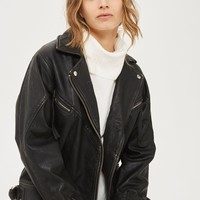 Oversized Leather Biker Jacket | Topshop