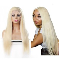Brazilian Straight 613 Blonde 13x4 Lace Front Wigs Human Hair Wigs Pre Plucked 10-28inch