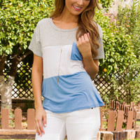 Lia Stripe Top - Periwinkle