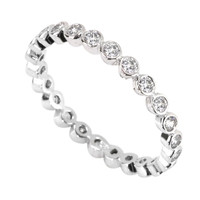 Wedding Band CZ Eternity Ring with Rhodium Sterling Silver 2mm Circle Stones