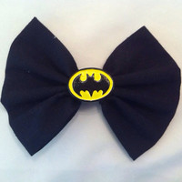 Batman Inspired Medium Sized Black Fabric Hair Bow, The Dark Knight, DC Comics, Superhero, Geek, Justice League, Comic Book