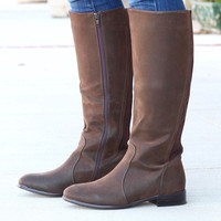 Solid Oil Rubbed Emerson Riding Boots {Brown}