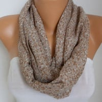 Beige Infinity Chiffon Scarf,Fall Scarf, Circle, Loop Scarf Gift Ideas For Her Women's Fashion Accessories Women Scarves