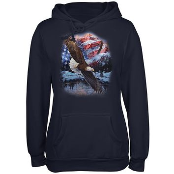 4th Of July American Flag Bald Eagle Juniors Soft Hoodie