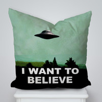 I Want to Believe Square Pillow Cover, Pillow Case, Cushions Pillow Cover, Home Decor Pillow, Bed Pillow, Bedding, Housewares