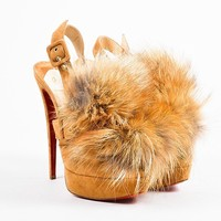 HCXX Christian Louboutin Tan Suede   Splash   Fox Fur Slingback Pumps