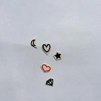 25 Temporary Tattoo Collection Hearts Stars Moons Diamonds / Fake Tattoos / Set of 25