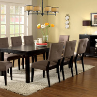 A.M.B. Furniture & Design :: Dining room furniture :: Dining table sets :: Espresso finish :: 9 Pc. Bay Side I contemporary style espresso finish wood with fabric upholstered chairs