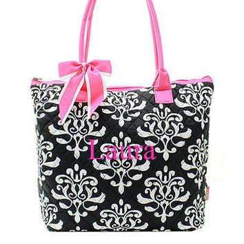 Monogrammed Quilted Tote Bag  Black Bloom with Pink Trim Tote Bag  Personalized Tote Bag