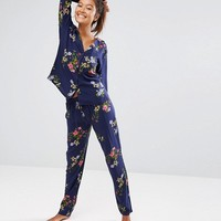 ASOS Midnight Blue Floral Traditional Shirt & Trouser Pyjama Set at asos.com