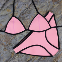New Design Mesh Patchwork Real Neoprene Bikini Swimwear Under Wire Strap Sexy Swimming Bathing Suits Free Shipping