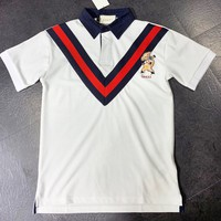 GUCCI New fashion embroidery letter pig lapel stripe couple top t-shirt White