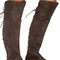 LFL Ramsey Grey Suede Lace-Up Over the Knee Boots
