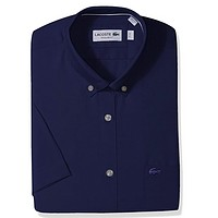 Lacoste Mens Short Sleeve with Pocket Mini Pique Regular Fit Woven Shirt, CH961