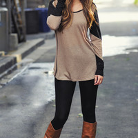 Lazy Day Top: Tan/Black | Hope's
