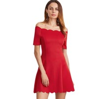 Womens Sexy Short Party Night Club Dress Elegant Red Scallop Edge Off The Shoulder A Line Mini Dress