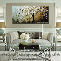 """CUSTOM Art Abstract Painting White Cherry Tree Blossoms Flowers Textured Palette Knife Large Wall Decor Blue Brown Gold 48x24"""" -Christine"""