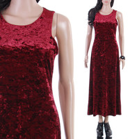90s Crushed Velvet Blood Red Stretchy Maxi Tank Dress Long Goth Vamp Glam Witchy Vintage Clothing Womens Size Small Medium