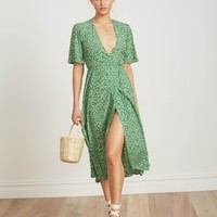 VIOLETTE PRINT - GREEN - RIVERA MIDI DRESS