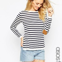 ASOS Tall   ASOS TALL Sweater In Stripe With Oval Tan Suede Elbow Patch at ASOS
