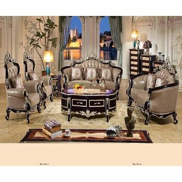 Luxury Home Furniture Sofa Set Living Room With Solid Rubber Carving