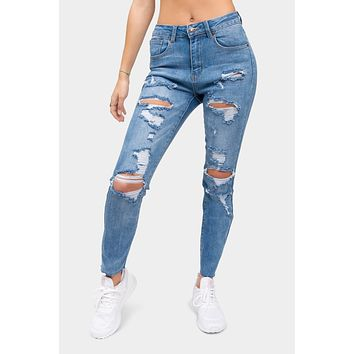 Destroyed High Rise Straight Jeans