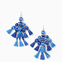 pretty poms tassel statement earrings