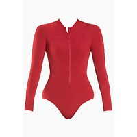Mesh Zipper Front Rashguard Bodysuit - Chili Red