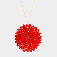 Red Beaded Disc Pendant Long Necklace
