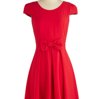 ModCloth Fruits Mid-length Cap Sleeves Fit & Flare Candy Apple Cute Dress
