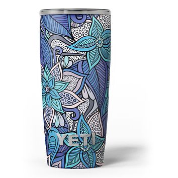 Floral Blues - Skin Decal Vinyl Wrap Kit compatible with the Yeti Rambler Cooler Tumbler Cups