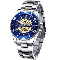 Mens Watches Mechanical Automatic Self-Winding Stainless Steel Skeleton Luxury Waterproof Diamond Dial Wrist Watches for Men Blue