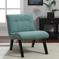 Aqua Armless Tufted Back Chair | Overstock.com