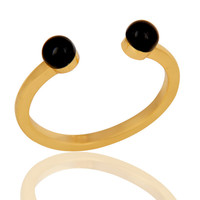 Black Onyx Bead and Sterling Silver Gold Plated Open Ring