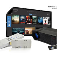 """FAVI Garage Cave Bundle with HD Projector, 100"""" HD Indoor/Outdoor Screen and SmartStick (B-LED4T-PWMHD100-SSV48GB)"""