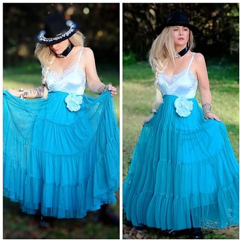 Copy of Fashion days spring maxi Vintage floating tulle mermaid maxi dress, holiday turquoise teal party dress, True Rebel Clothing M L
