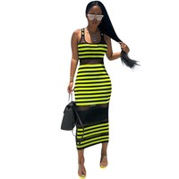 Women Sexy Mesh Striped Patchwork Bodycon Dress