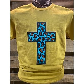 Southern Chics Apparel Turquiose Leopard Cross Mustard Canvas Girlie Bright T Shirt
