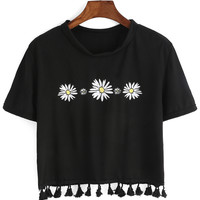 Flower Print Fringe Black T-shirt
