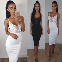 Sexy Lace Stitching Bodycon Perspective Dress