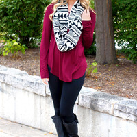 The Perfect Long-Sleeved Tunic - Wine