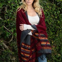 Reversible Tribal Tassel Poncho