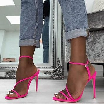 Neon Strappy Stilettos