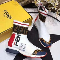 FENDI Hot Sale Colorblock Embroidered Letters Couple Style Socks Shoes Sneakers